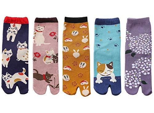 5 pares de calcetines japoneses de gato de dibujos animados calcetines Geta calcetines de algodón elegantes calcetines casuales