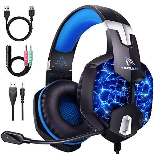 Auriculares Gaming PS4, YINSAN Cascos Gaming Premium Estéreo con Micrófono, 7 Luces...