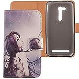 Lankashi Housse Case Cuir Cover Flip Etui Coque Protection Skin pour ASUS Zenfone Go ZB452KG 4.5'...