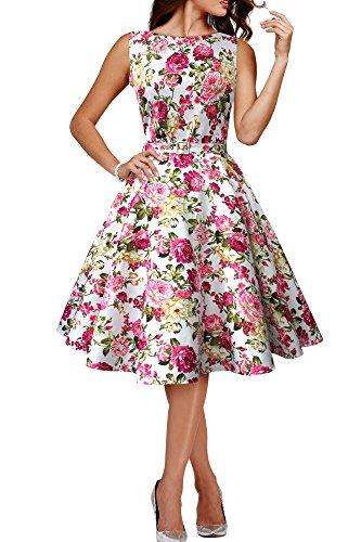 BlackButterfly 'Audrey' Vestido Vintage Años 50 Divinity (Marfil - Flores Rosas, ES 36 - XS)