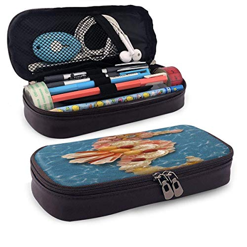 Pearl Hippocampal Leather Pencil Case with Pen Holder, Large Capacity Stationery, Cosmetic Bag, Bluetooth Headset, School Supplies, Male and Female Students Black