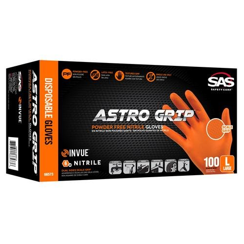 SAS Safety 66574 Nitrile Astro Grip Powder-Free Disposable Glove, X-Large (Pack of 1000)
