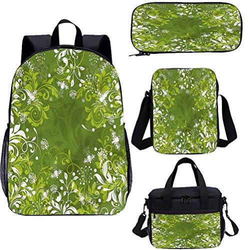Verde 15 pulgadas mochila escolar y bolsa de almuerzo, abstracta floral naturaleza libreras 4 en 1
