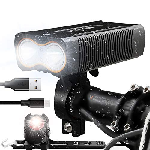 Victagen USB Rechargeable Bike Light, Super Bright Bike Headlight 2400 Lumens and Back Rear Light, Waterproof Bicycle Headlight and Taillight, Easy to Mount Fits for Mountain Road Kids Bikes Cycling