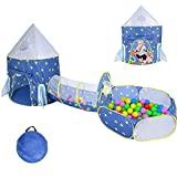 3pc Kids Play Tent, Toddler Tunnel & Baby Ball Pit with Basketball Hoop, Pop Up Rocket Ship Tent for Boys, Girls and Toddlers,Baby Space World Playhouse Toys,Using Indoor or Outdoor(Blue)