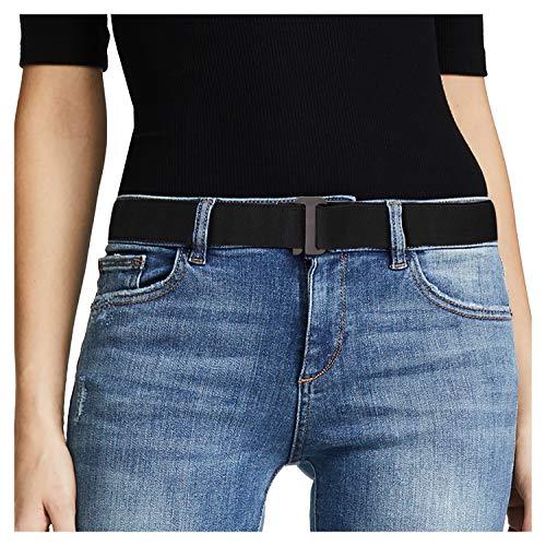 No Show Women Stretch Belt Invisible Elastic Web Strap Belt with Flat Buckle for Jeans Pants Dresses(Suit for US Size 0-16,Black-Guncolor Buckle)