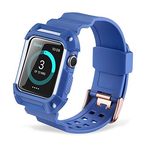 Pinhen Apple Watch 38mm 42mm con custodia e vetro temperato iWatch sport antiurto robusto con custodia protettiva flessibile TPU wristband per Apple Watch Series 3Series 2Series 1