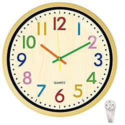12 Inch Wall Clock Silent Non Ticking Colorful Kids Wall Clock Multi Colored Numbers Decorative Clock for Children Nursery Room Bedroom School Classroom (Yellow)