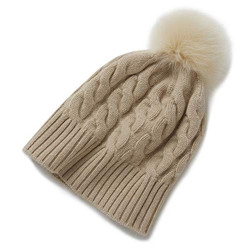 優雅な メンズ秋と冬の女性のカシミヤ帽子、非染めハイエンドカシミアニット帽子、肥厚ウールボールウォームハット (色 : Yellow)