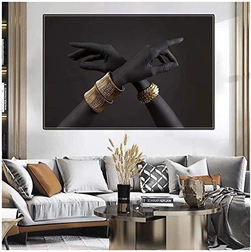 YaShengZhuangShi Impresiones para Paredes 70x90cm sin Marco Póster Abstracto e Impresiones Mujer Negra con Pulsera Dorada Pinturas Modernas para la Imagen de la habitación Decoración del hogar