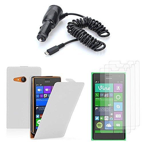 Etui portemonnee kunstleer boek klep houder video voor Nokia Lumia 735/730 Dual-SIM- + 3 filmscherm overzichtelijk + 1 auto autotransporter GPS-klem roterend instelbaar, wit14