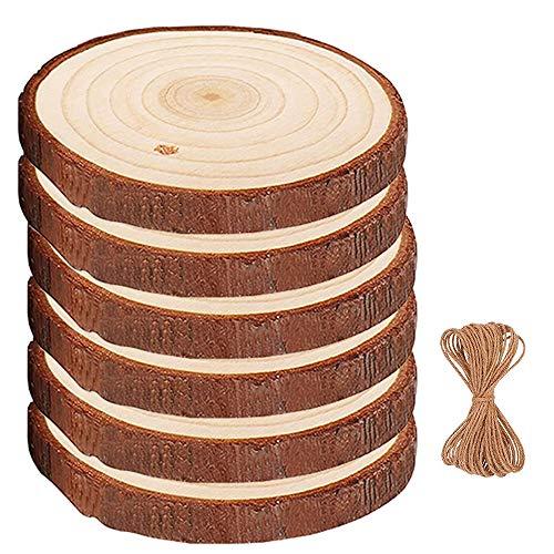 SkingHong Holzscheiben Baumscheibe Deko Basteln - 14-15cm 6 Stücke Runde Holz Log mit Loch Holzscheibe + Juteschnur Unvollendete Holzkreise für DIY Handwerk Hochzeit Weihnachten Dekoration