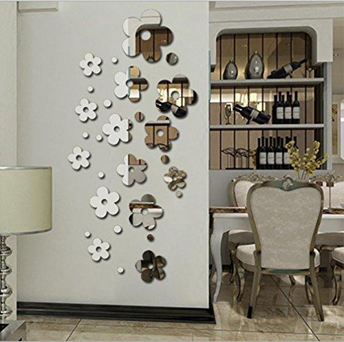 GxNI Miroir stickers muraux chambre chambre TV toile de fond miroir décoratif autocollants vivant (14 fleurs)