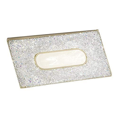 MagiDeal Caja de pañuelos de Diamante de Cristales Soporte de Piel de PU para Visera de Coche Accesorios - Beige
