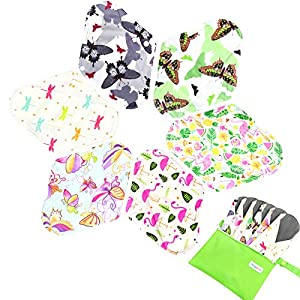 Langspit Absorbent Reusable Sanitary Pads,6 Pieces Washable Bamboo Cloth Menstrual Pads with Bonus Free Mini Wet Bag