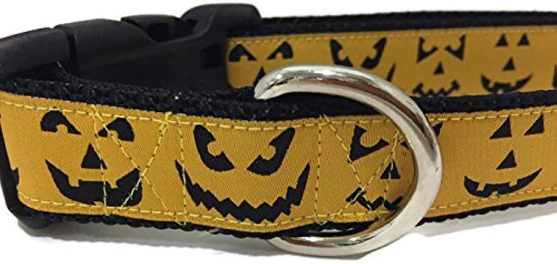 CANINEDESIGN QUALITY DOG COLLARS Halloween Dog Collar, Caninedesign, Ghosts, Candy Corn, Pumpkins, 1 inch Wide, Adjustable, Nylon, Medium Large (Medium 1319, Jackolanterns)