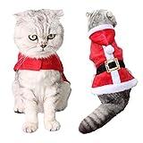 Outgeek Robe Noel Chat, Santa Ajustable pour Animaux de Compagnie Cape Cat Vêtements de Père Noël avec des Tenues de Noël pour Cloches pour Chiens et Chats