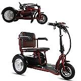 MMRLY Triciclo para Adultos, Triciclo eléctrico Plegable Scooter de Tres Ruedas- 8-20 km/h- kilometraje máximo 60 km/Carga 150 kg/para Ancianos y discapacitados,Rojo
