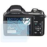 Bruni Película Protectora Compatible con Nikon Coolpix L100 Protector Película, Claro Lámina Protectora (2X)