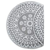 DII Contemporary Indoor/Outdoor Lightweight Reversible Fade Resistant Area Rug, Great For Patio, Deck, Backyard, Picnic, Beach, Camping, & BBQ, 5' Round, Gray Floral