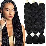 Synthetic Jumbo Braiding Hair Black Braid in Hair Extensions Braids Hair for Twist 24' 3 Bundles/Lot (1#)