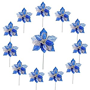 M2cbridge 12 Pieces Glitter Christmas Decorations Flowers Wedding Holiday Decoration Flower Arrangement