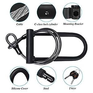 DINOKA Bike U Lock, Anti-Cut D Lock Cerradura de bicicleta con cable flexible de 1,2 m y soporte de montaje, alta seguridad para bicicleta, E-Sctooer y motocicletas