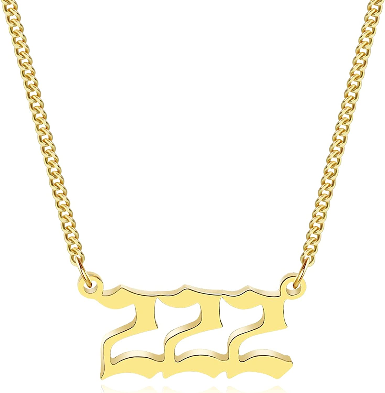 HOISH Angel Number Necklace for Women Dainty Gold Number Necklace 000 111 222 333 444 555 666 777 888 999 Pendant Necklaces Choker Chain for Teen Girls