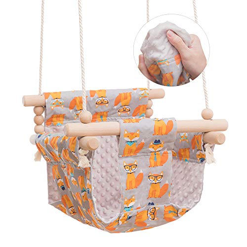 bopoobo Baby Wooden Hanging Swing and Secure Canvas Seat Chair Handmade, Hammock Crib Indoor and Outdoor for Toddler, Kids Toys Swings Set 6-36 Months (Fox)