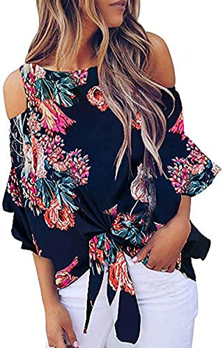 Chuanqi Womens Cold Shoulder Blouse Bell Sleeve Tie Knot Casual Summer Shirt Tops (X-Large, 3-Black)