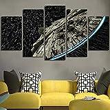 Cuadro sobre Impresión Lienzo 5 Piezas -Mural Moderno 5 Piezas,Star Wars Destroyer Millennium Falcon Dormitorios Decor para El Hogar -No Tejido Lienzo Impresión- Modular Poster Mural-Listo para Colgar