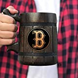 Boston Red Sox Beer Mug, Wood Beer Stein, Baseball Fan Gifts, Wooden Beer Mug, Gift for Men, Gift for Him, Wooden Beer Tankard, Sport Gift [#219] 0.6L / 22 ounces