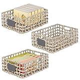 mDesign Juego de 3 cestas organizadoras de Armario o Estante – Canasta Trenzada de Jacinto de Agua con Etiqueta – Cesto extraíble con Asas para baño, salón, etc. – 22,9 x 30,5 x 15,2 cm – Gris