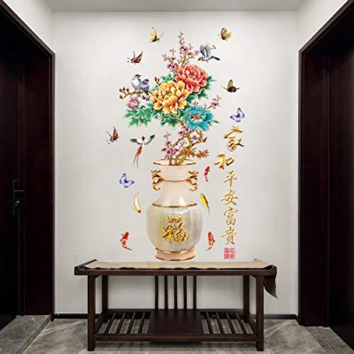 VCTQR Muurstickers behang Muurstickers 3D Vaas Perzik Bloesem Kantoordeur En Raam Achtergrond Muurfoto's Studie Kamer Decor Wallpaper