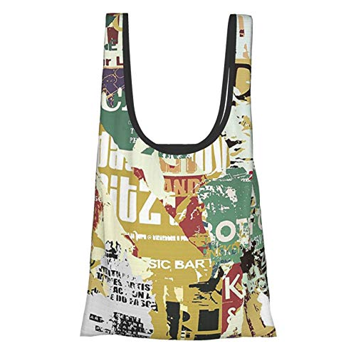 J-shop Retro Grunge Style Collage Print Of Old Torn Posters Magazines Newspapers Paper Art Print Es Multicolor Reusable Grocery Bags, Eco-Friendly Shopping Bag