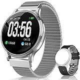 BANLVS Reloj Inteligente, Smartwatch IP67 1.22 Pulgadas Pulsómetro, Monitor de Sueño, Presión Arterial,Pulsera Actividad Inteligente para Android iOS Hombre y Mujer (Plata)