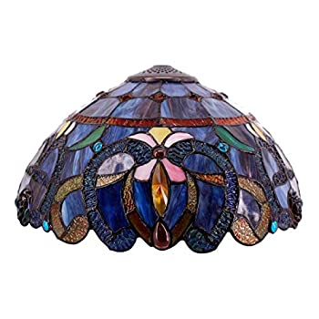 Tiffany Lamp Shade Replacement W16H7 Inch Blue Cloud Stained Glass Lampshade Fit For Table Lamps FLoor Lamp Ceiling Fixture  3 Hooks Inside Pendant Hanging Light S558 WERFACTORY Home Office Decoration