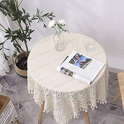 Jstoo Tovaglia a prova di polvere con pizzo vuoto idilliaco rotondo lungo quadrato in croche tessuto asciugamano 4_90 * 150 (tavolino da caffè)