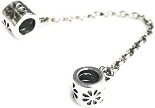 Queenberry Sterling Silver Daisy Flower Safety Chain Screw-on European Bead Charm