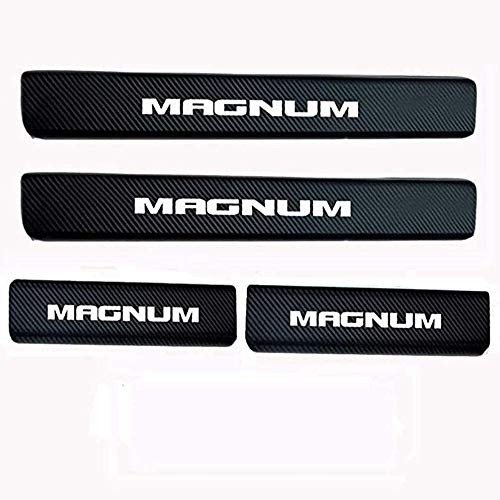 ZGYAQOO 4 Pcs Car Carbon Fiber Leather Door Sill Kick Plates for Dodge Magnum, Scuff Plate Guard Protector Trim Sticker, with High Intensity Reflective Tape