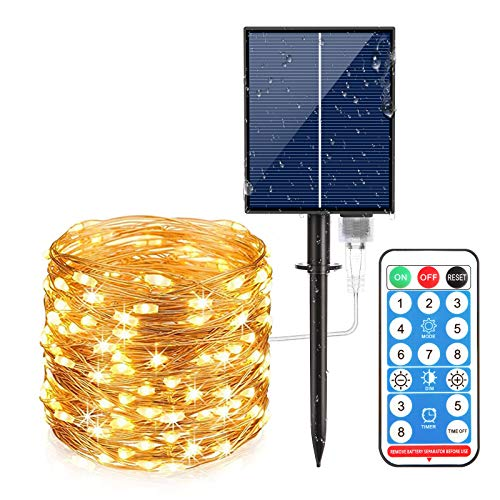 Techuoso 300LED 30M/100Ft 8Modes Solar Light Strings Solar Fairy Strings Lights IP65 Waterproof Outdoor and Indoor Copper String Light Remote Timer for Party,Garden,Christmas,Halloween(Warm White)