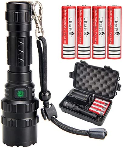 UltraFire 18650 Tactical Flashlight with 4PCS UFB26 3 7V Protected 2600mAh 18650 Rechargeable product image