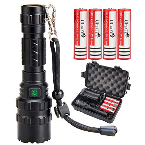 UltraFire 18650 Tactical Flashlight with 4PCS UFB26 3.7V Protected 2600mAh 18650 Rechargeable Battery and Charger, 5 Modes and 1000 Lumens USB Flashlight