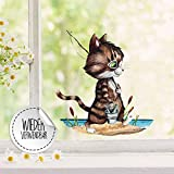 ilka parey wandtattoo-welt Fensterbild Kater Katze Kätzchen Angelkatze Angel wiederverwendbar Fensterdeko Fensterbilder Frühlingsdeko bf41