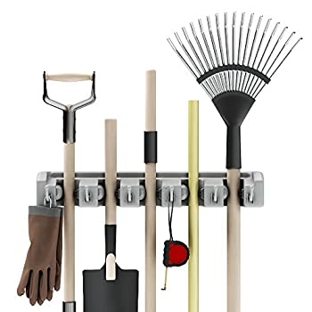 Shovel Rake and Tool Holder with Hooks- Wall Mounted Organizer for Garage Closet or Shed-Hang Home and Garden Tools-Space Saving Rack by Stalwart