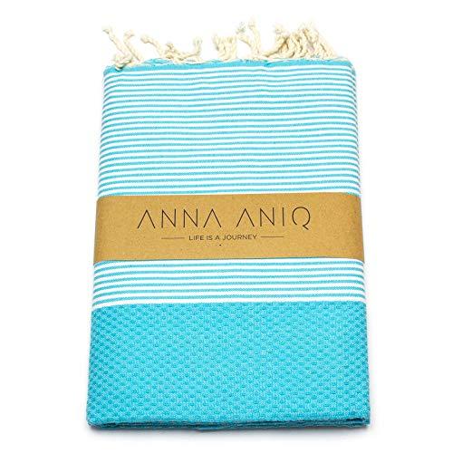 ANNA ANIQ Premium Fouta Hamamtuch Saunatuch Strandtuch XXL Extra Groß 200 x 100cm - 100% Baumwolle aus Tunesien, orientalisches Bade-Tuch, Yoga, Pestemal, Strand-Handtuch (Türkis)