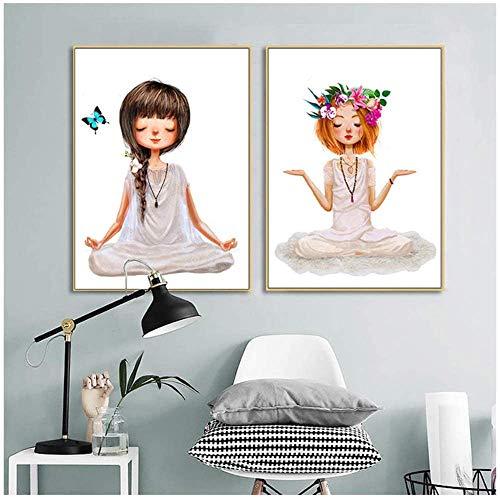 Surfilter Leinwandmalerei Druck auf Leinwand Schöne Yoga-Mädchen Poster und Drucke Kunst Wandbilder Nordic Modern Living Room Home Decoration 19.6& rdquo; x 27.5& rdquo; (50x70cm) x2 No Frame