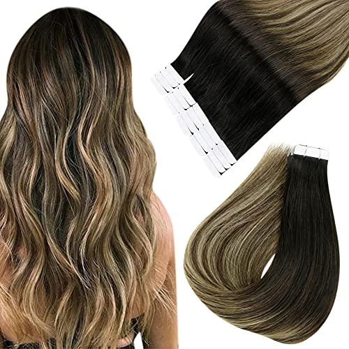 Easyouth Adhesive Cheveux Extension Ombre Hair Couleur Noir Cassé à Brun Moyen avec Blond Fraise Natural Hair Extensions Cheveux Humains 40Pcs 12Pouces 60g