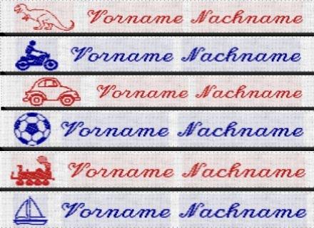 50 Wäscheetiketten Namensetiketten Etiketten J10 mit Namen und Motiv Namensbänder Label bestickt zum Einbügeln oder Einnähen Jungen