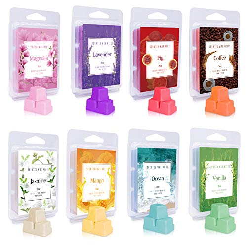 Iwaxlife 8 Pack Scented Wax Melts Set, Strong Aroma Wax Tarts with 8 Fragrances, Variety Wax Cubes for Candle Warmer